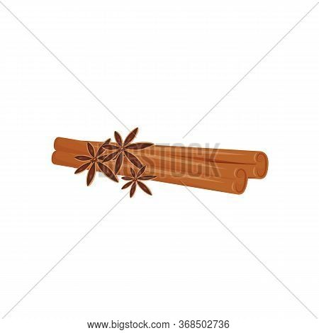 Cinnamon And Star Anise Cartoon Vector Illustration. Traditional Beverage Flavourings Flat Color Obj