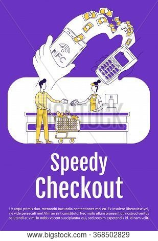 Speedy Checkout Poster Flat Silhouette Vector Template. Mobile Payment. Brochure, Booklet One Page C