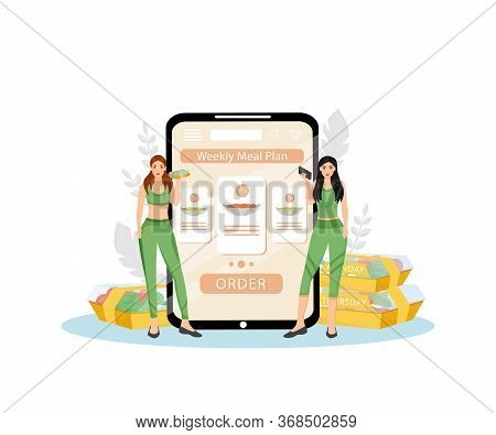 Weekly Meal Plan Flat Concept Vector Illustration. Female Nutritionists 2d Cartoon Characters For We