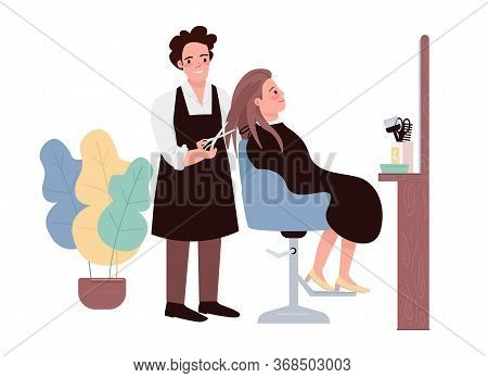Hairdressing Flat Color Vector Characters. Male Hairstylist Doing Haircut. Female Caucasian Client G