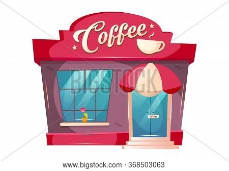 Coffeeshop Cartoon Vector Illustration. Cafe Building Front Flat Color Object. Eatery Kiosk Exterior