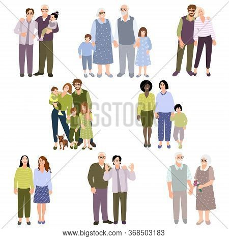 Set Of Family Couples. People With Kids. Collection People Different Races. Happy Homosexual Couples