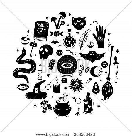 Magic Vector Round Set Consists Of A Crystal Ball, Black Cat, Bat, Skull, Magic Elixir, Snake, Eyes,