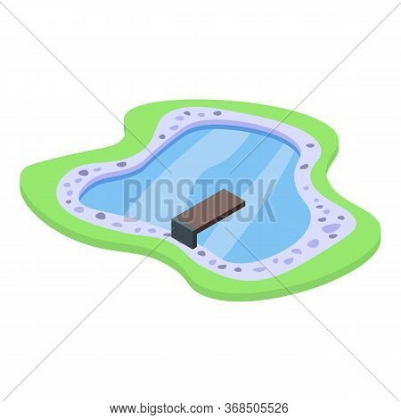 Home Lake Pool Icon. Isometric Of Home Lake Pool Vector Icon For Web Design Isolated On White Backgr