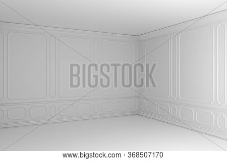 White Empty Room With White Decorative Molding On Wall In Classic Style, With Baseboard, Flat Floor