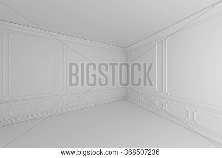 Simple Empty White Room With White Decorative Molding On Wall In Classic Style, With Flat Ceiling, F