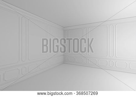Simple White Empty Room With White Decorative Molding On Wall In Classic Style, With Flat Ceiling, F