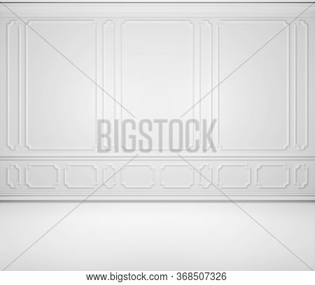 Simple Empty White Room Wall Background With White Decorative Molding On Wall In Classic Style, With