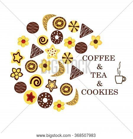Cookies Icon.vector Logo Illustration On A White Background. Different Types Of Cookies.