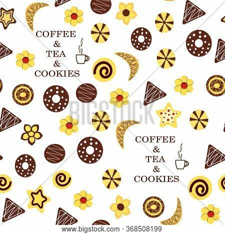 Cookies Pattern.vector Illustration On A White Background. Different Types Of Cookies Wich Text.