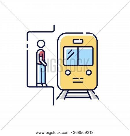 Subway Rgb Color Icon. Railway Station. Platform For Passenger To Wait For Metro Train. Fast Public