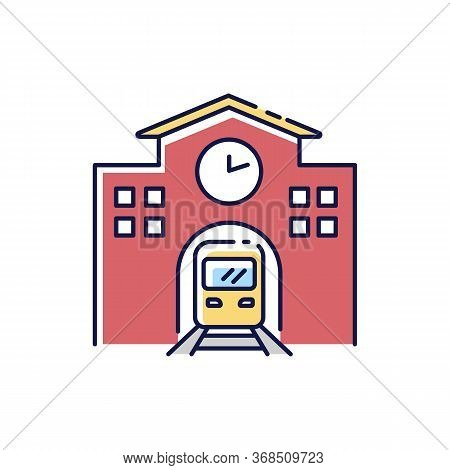 Railway Station Rgb Color Icon. Public Transportation Platform. Express Commuter Departure. Urban In