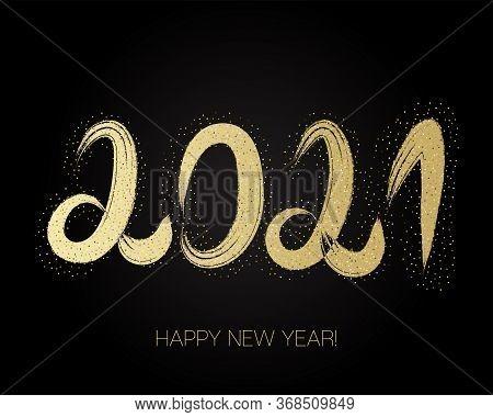 2021 Gold Brushstroke Banner. Painted 2021 Modern Minimal Logo. Winter Holiday Greeting Card. Happy