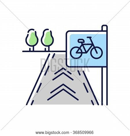 Bicycle Lane Rgb Color Icon. Path To Exercise On Bike. Pedestrian Street. Urban Road For Fitness Act