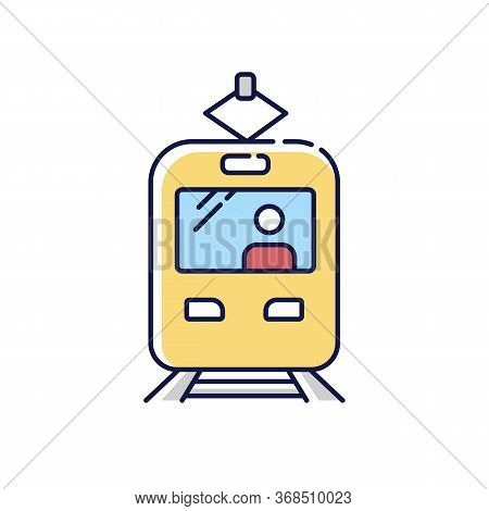 Tram Rgb Color Icon. Rapid Transit. Commuter On Train Stop. Fast Electric Transportation. City Road