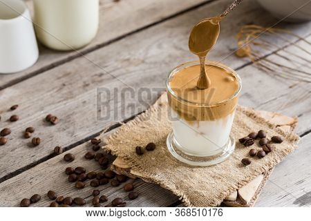 Coffee Trend - Dalgona Coffee, Whipped Instant Coffee. Cream Coffee, Iced Coffee