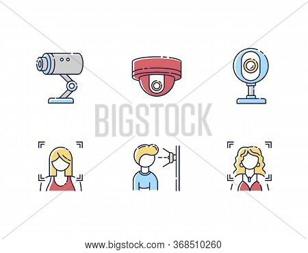 Biometric Identification Rgb Color Icons Set. Video Surveillance. Facial Recognition. Identity Verif