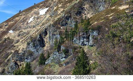 Huge Rocks In A Slope With Green Trees, Velky Kotel, Jeseniky, Czech Republic.