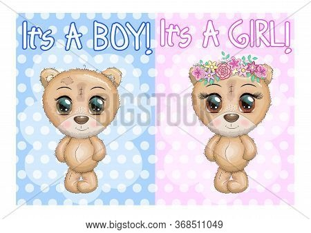 Baby Shower Greeting Card With Teddy Bears Boy And Girl.