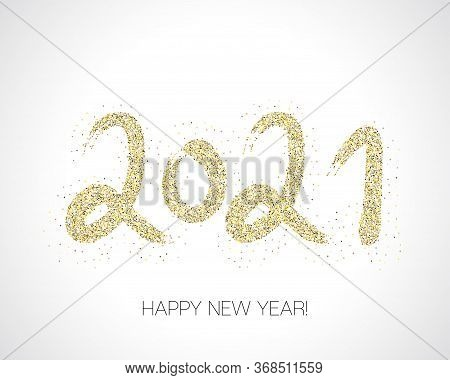 2021 Gold Brush Stroke Banner. Winter Holiday Greeting Card. Happy New Year Elegant Business Backgro