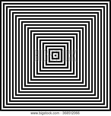 Abstract Geometric Op Art Design. Square Lines Pattern. Vector Art.