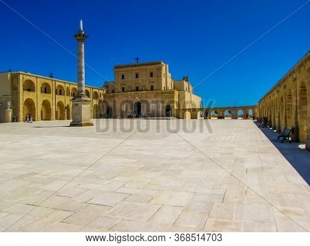 View Of The Main Square And The Sanctuary Of Santa Maria Di Leuca, Italy