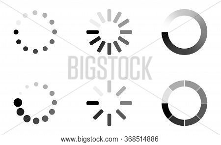 Loading Icons. Load. Load Bar Icons. Set Of Loading Icon In A Row, Isolated On White Background. Eps