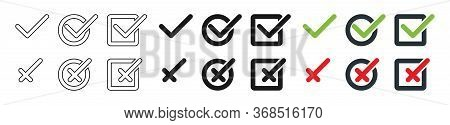 Check Mark With Cross Collection, Isolated. Check Mark With Cross Vector Icons In Different Design.