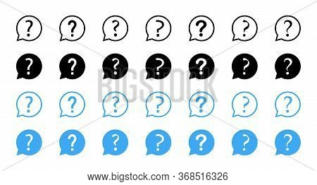 Question Vector Icons Collection. Question With Speech Bubbles, Isolated. Ask Icons. Question Mark S