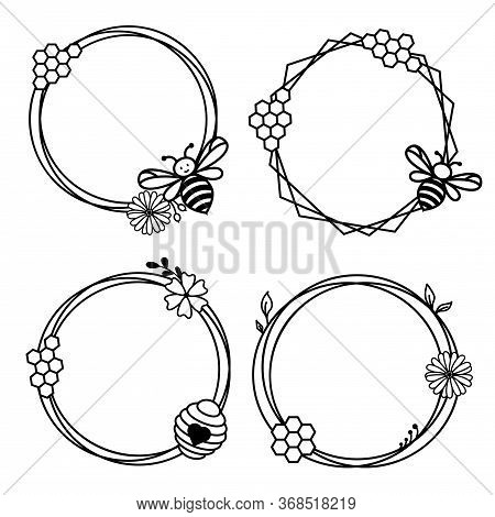 Floral Frame With Honey Bee And Honeycombs. Cute Bee Wreath Circle Frame Border Vector.