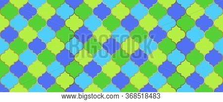 Ramadan Kareem Muslim Illustration. Seamless Moroccan Mosaic Pattern. Traditional Ramadan Golden Mos