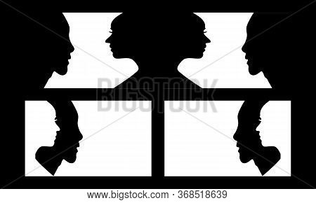 Set Of A Side View Of Human Avatar Face Silhouette On Black And White Background. Side Face Shape Of