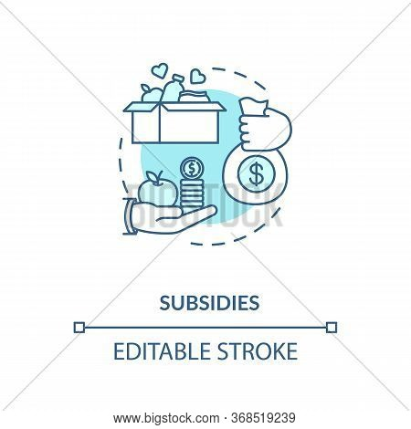 Subsidies Turquoise Concept Icon. Government Incentive. Financial Support Thin Line Illustration. So