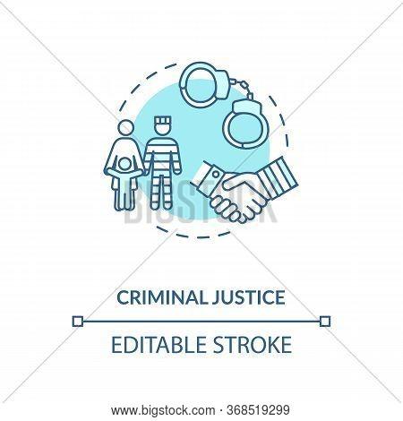 Criminal Justice Concept Icon. Social Service And Legal Consulting. Advocacy Idea Thin Line Illustra