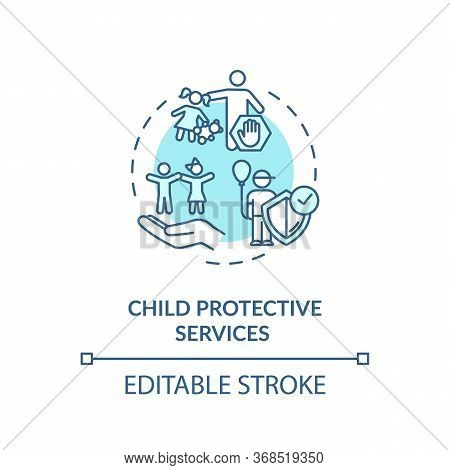 Child Protective Service Concept Icon. Violence Against Kids Prevention. Childcare Idea Thin Line Il