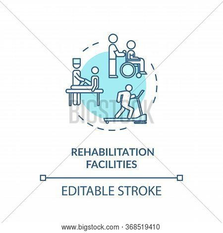Rehabilitation Facilities Turquoise Concept Icon. Rehab Clinical Center. Physiotherapy Thin Line Ill