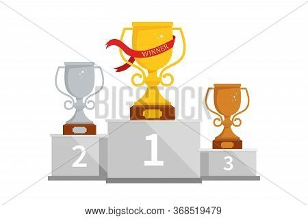 Winner Podium With Cups For The First, Second And Third Place. Pedestal Winner At Sporting Events, P