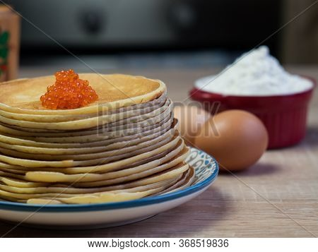 Red Caviar With Pancakes, Traditional Russian Cuisine. Maslenitsa, Shrovetide.