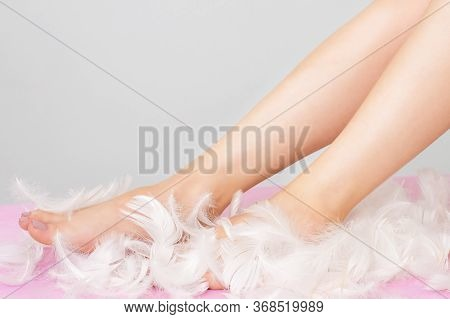 Woman Legs In Feathers With Perfect Smooth And Silky Skin Copy Space Epilation Concept.