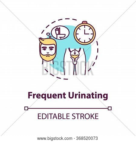 Frequent Urination Concept Icon. Prostatitis Symptom Idea Thin Line Illustration. Prostate Gland Inf