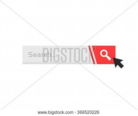 Cursor Click On Simple Search Bar. Flat Minimal Trend Modern Searchbar Logotype Graphic Art Design I