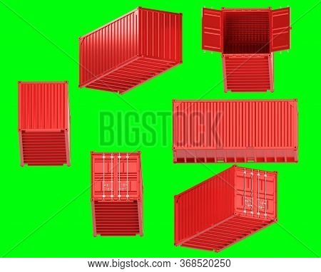 A High Quality Image Of A Red 20ft Shipping Container On A Green Background With Clipping Path. Twen