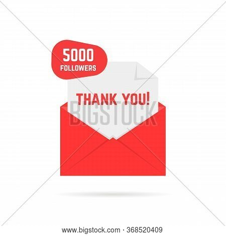 Thank You For 5000 Followers Red Letter. Concept Of Congratulations To Subscribers. Flat Cartoon Sty