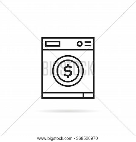 Washing Machine With Dollar Sign. Concept Of Money Laundering Or Global Financial Crimes. Flat Strok