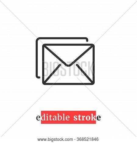 Minimal Editable Stroke Mail Icon. Concept Of You Ve Got Mail With Change Line Thickness. Flat Linea