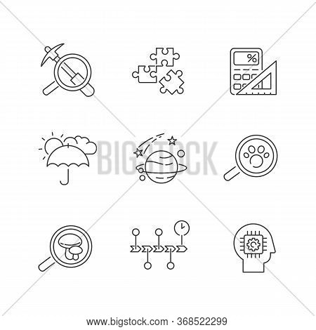 Scientific Fields Pixel Perfect Linear Icons Set. Different Branches Of Formal And Natural Science C