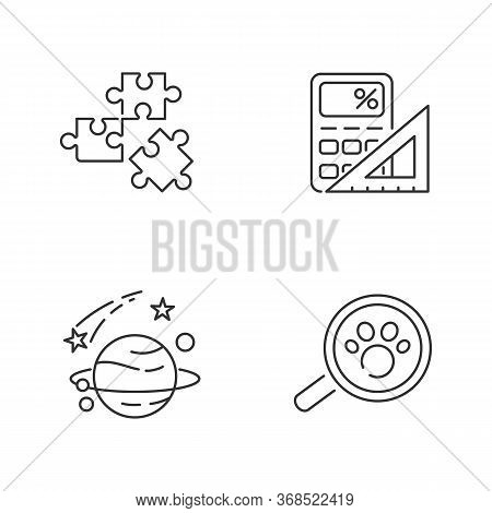 Natural And Formal Sciences Pixel Perfect Linear Icons Set. Customizable Thin Line Contour Symbols.