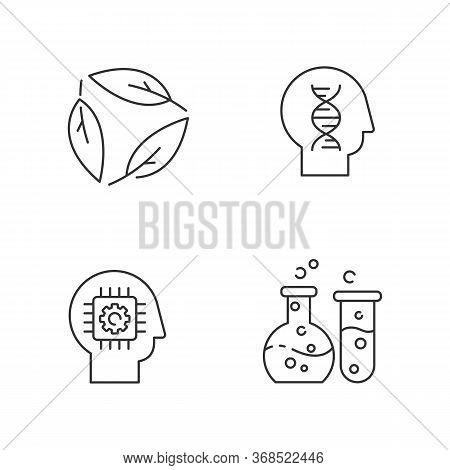 Modern Sciences Pixel Perfect Linear Icons Set. Customizable Thin Line Contour Symbols. Human Biolog