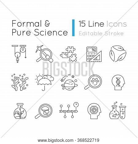 Formal And Pure Science Pixel Perfect Linear Icons Set. Different Scientific Disciplines, Fields Of