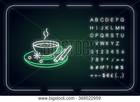 Masala Chai Neon Light Icon. Indian Tea With And Herbs. Traditional Drink. Hot Beverage. Outer Glowi